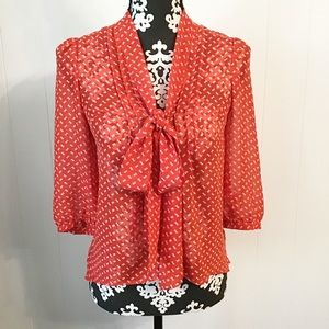 Anthropologie Pins and Needles Bow Tie Front Top